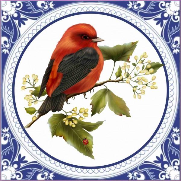 Tegeltje met een rode vogel